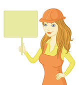 Girl worker holding a sign — Stock Photo