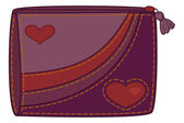 Purse with valentine hearts — Stock Vector