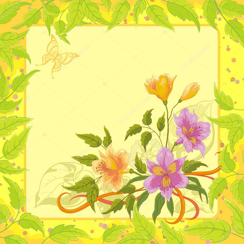 Alstroemeria flowers on yellow background with green leaves and butterfly. Vector  Stock Vector #9387073