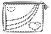 Purse with valentine hearts, contours — Stock Vector