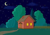 House on forest edge, night — Stock Photo