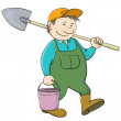 Mgardener with bucket and shovel — Stock Photo #9620627