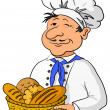 Baker with bread basket — Stock Photo