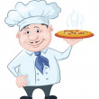 Cook holds a hot pizza — Stock Vector