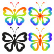 set abstract butterflies — Stock Photo