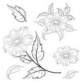 Flowers and leaves dahlia, contours — Stock Vector