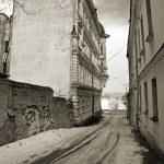 Street in Vyborg.Vintage stylized photo. — Stock Photo