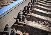 Modern railway, closeup photo — Stock Photo