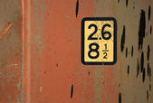 Label on standard red freight shipping container — Stock Photo
