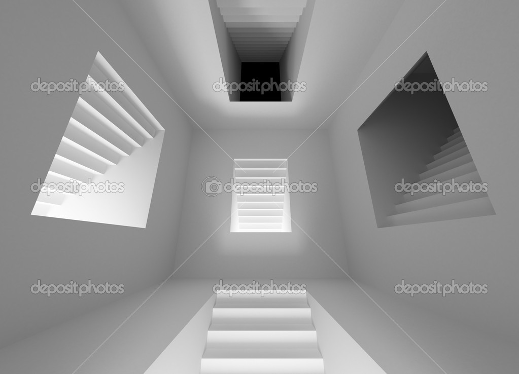 Gray abstract architecture interior with lighting stairway portals  Stock Photo #10724093