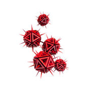 Illustration of a virus as a few red sharp objects — Stock Photo