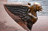 Griffin - bronze winged lion — Stock Photo