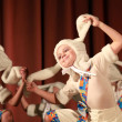 Dance show with girl in white rabbit suit — Stock Photo