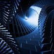 Royalty-Free Stock Photo: 3d abstract background with dark blue helix tunnels
