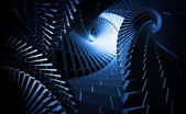 3d abstract background with dark blue helix tunnels — Stock Photo