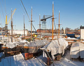 Old dry dock with ancient yachts — Stock Photo