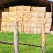 Haystack stored and fence — Stock Photo