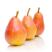 Three pears on white background close-up — Stock Photo