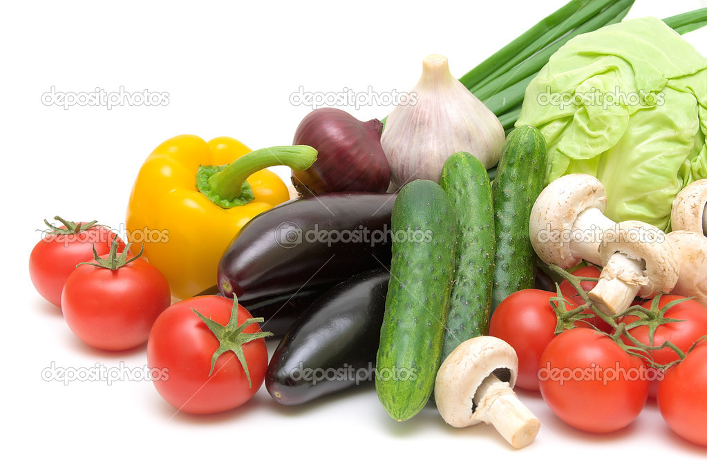Fresh vegetables on a white background close-up  Stock Photo #10498988