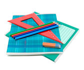 Office supplies on white background — Stock Photo