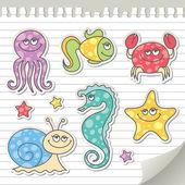 Criaturas del mar — Vector de stock