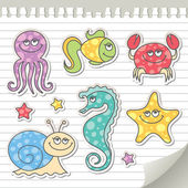 Sea creatures — Vector de stock