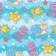 Stock Vector: Pattern sea creatures