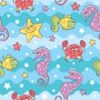 Pattern sea creatures — Stock Vector #10060008