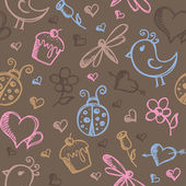 Romantic seamless pattern — ストックベクタ