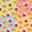 Patterns with fast food — Stok Vektör