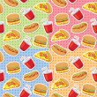 Stock Vector: Patterns with fast food