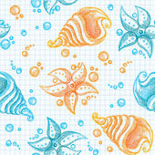 Hand drawn pattern of starfishes and shells — Stock Vector