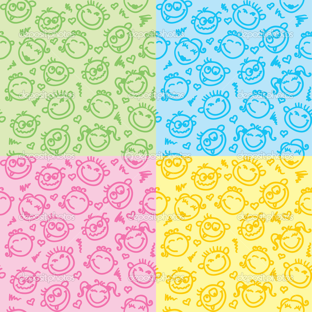 Set of seamless patterns with funny faces — Stock Vector #10224733