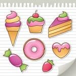 Sweet stickers — Stock Vector