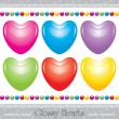 Stock Vector: Glossy hearts set