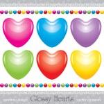 Glossy hearts set — Stock Vector