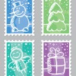 Christmas postage stamps — Stock Vector