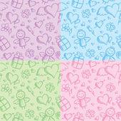 Romantic seamless patterns — Stock Vector