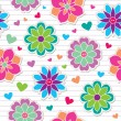 Stock Vector: Seamless pattern of flower stickers