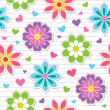 Seamless pattern of flower stickers — Imagen vectorial