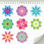 Flower stickers — Stock Vector