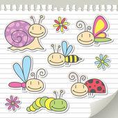 Satz von insekten — Stockvektor