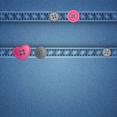 Realistic denim and sewing buttons — Vector de stock
