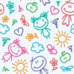Hand drawn kid pattern — Stock Vector