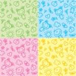 Hand drawn kid patterns — Stock Vector #9920592