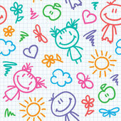 Hand drawn kid pattern — Vector de stock