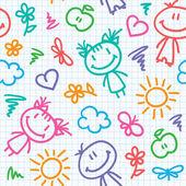 手描き下ろし子供パターン — ストックベクタ