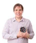 Man with clock near heart — Stock Photo