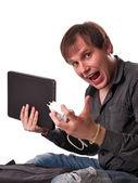 L'uomo con il portatile — Foto Stock