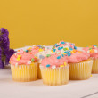 Pastel colored cupcakes - Stock Photo